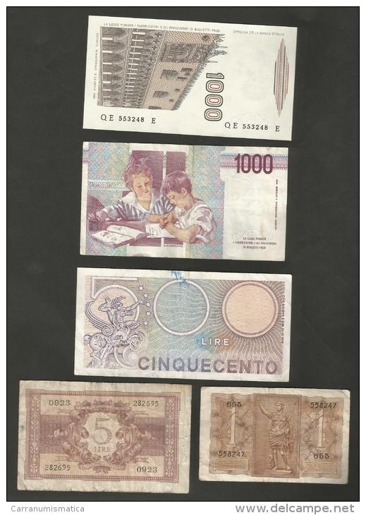 ITALIA - Kingdom And Republic - LOT OF 5 BANKNOTES / Regno E Repubblica - LOTTO 5 BANCONOTE - [ 2] 1946-… : Républic