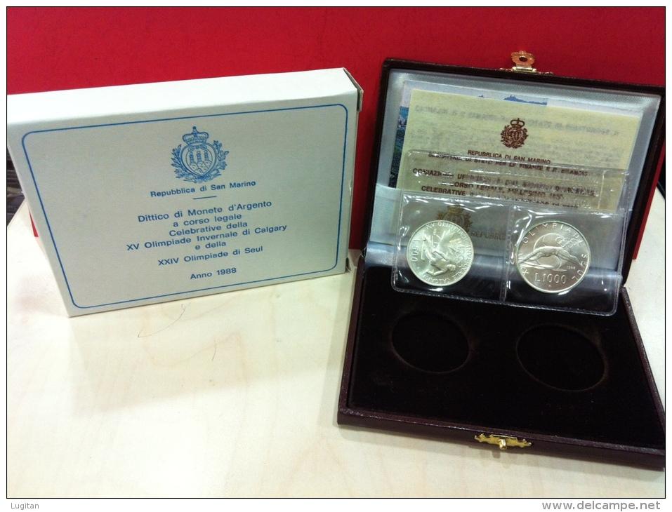 SAN MARINO - NUMISMATICA - FIOR DI CONIO 1988 - 500+1.000 £ Olimpiadi Calgary & Seul Dittico - Tiratura 31.854 - San Marino