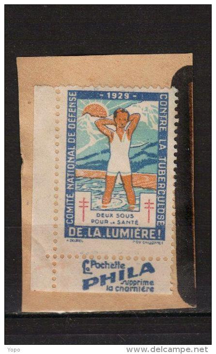 Timbre Vignette 1929 Antituberculeux Avec  Bande Publicitaire - LA POCHETTE PHILA - (sur Fragment) - Erinnophilie