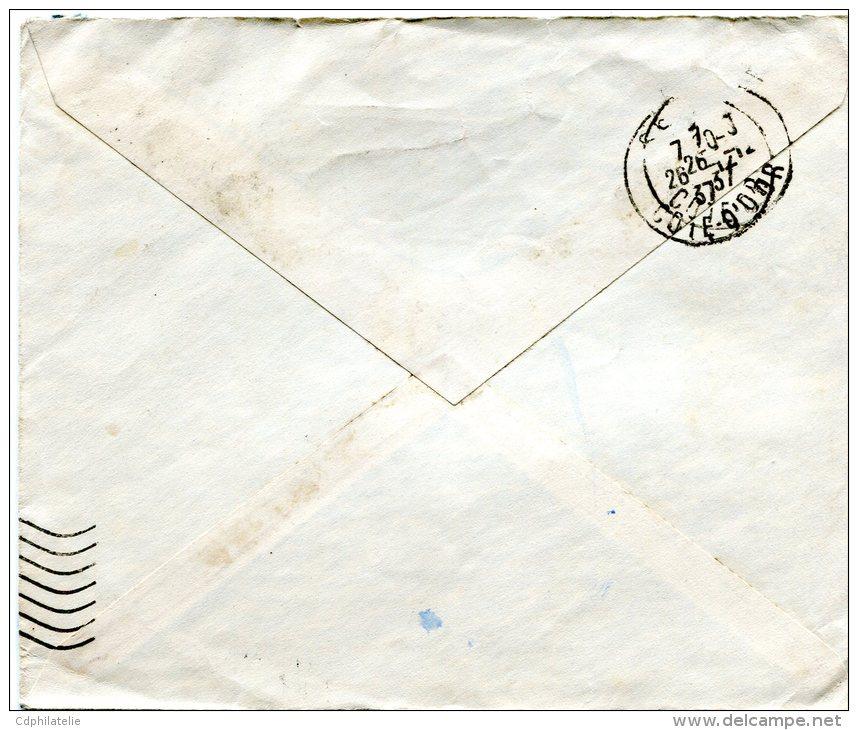 COTE FRANCAISE DES SOMALIS LETTRE DEPART DJIBOUTI 13 DEC 37 ARRIVEE SEMUR 26-12-37 PUIS REEXPIDITION POUR PARIS - Côte Française Des Somalis (1894-1967)