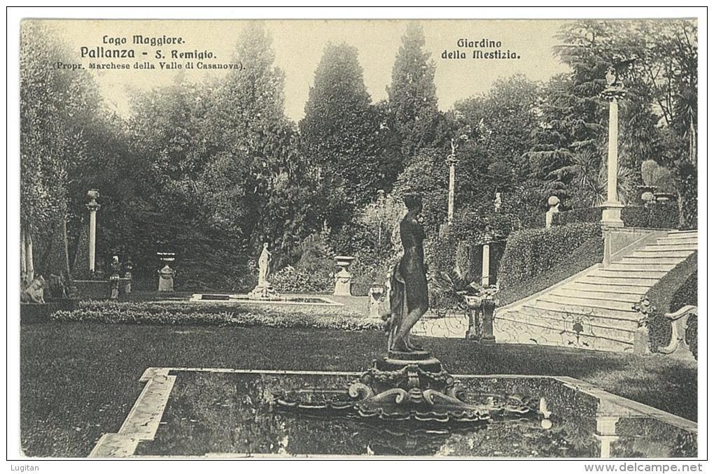 CARTOLINA - PALLANZA - LAGO MAGGIORE - S. REMIGLIO - GIARDINO DELLA MESTIZIA  - VIAGGIATA NEL 1912 - Verbania