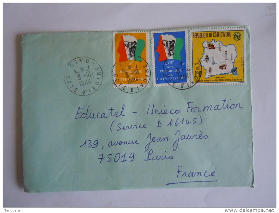 Ivoorkust Côte D'Ivoire Lettre Brief Cover 1984 Pour La France Drapeau Et éléphant Télécommunications  Yv 666 641 686 - Côte D'Ivoire (1960-...)