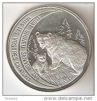MONEDA DE PLATA DE ANDORRA DE UN OSO PARDO DE 10 DINERS AÑO 1992 (SILVER-ARGENT) - Andorra