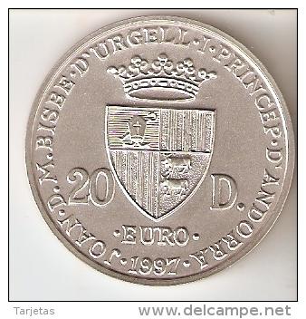 MONEDA DE PLATA Y ORO DE ANDORRA DE EL NACIMIENTO DEL EURO DE 20 DINERS AÑO 1997 MUY RARA (GOLD-SILVER-ARGENT) - Andorra
