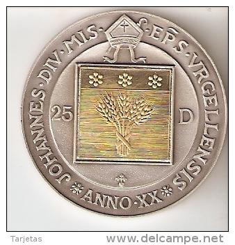MONEDA DE PLATA Y ORO DE ANDORRA 20 ANIV. OBISPO DE LA SEU D'URGELL DE 25 DINERS AÑO 1997 MUY RARA (GOLD-SILVER-ARGENT) - Andorre