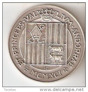 MONEDA DE PLATA Y ORO DE ANDORRA 20 ANIV. OBISPO DE LA SEU D'URGELL DE 25 DINERS AÑO 1997 MUY RARA (GOLD-SILVER-ARGENT) - Andorra