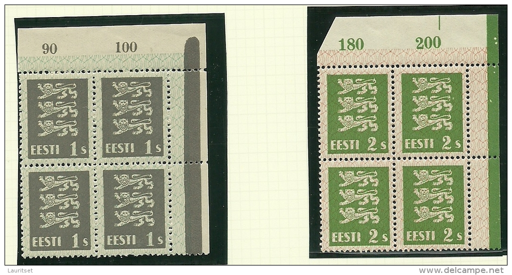 ESTLAND Estonia Estonie 1928 Wappenlöwe Coat Of Arms 6 X  4-block MNH/MH - Estland