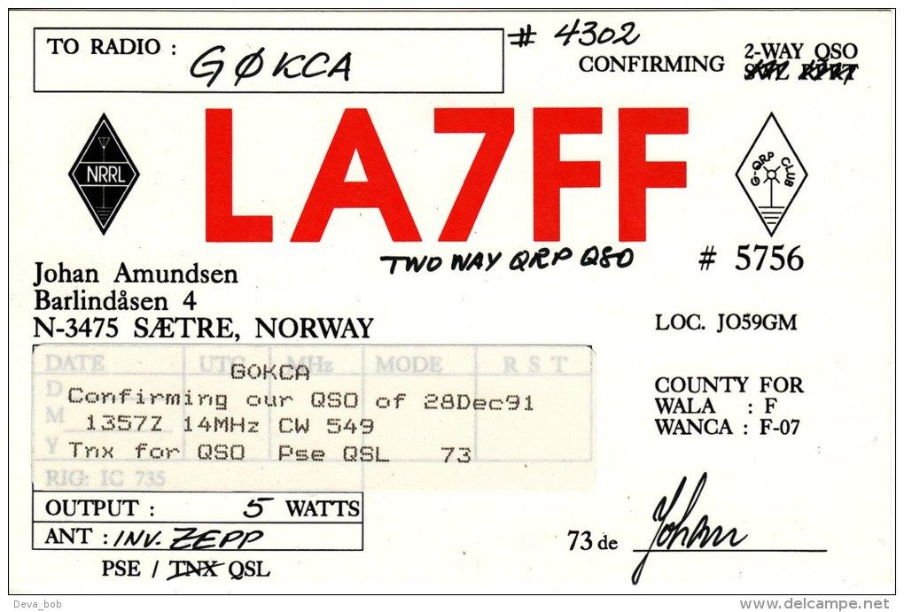 Amateur Radio QSL Card Norway LA7FF Saetre Johan Amundsen - Radio Amateur