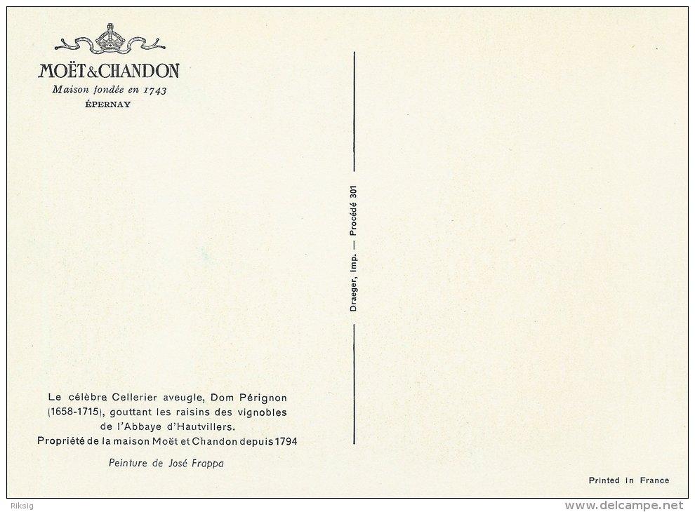 Postcard  Moët & Chandon  Le Celebre Cellerier,Dom Perignon.  Artist: Jose Frappa.  # 0584 - Moet Et Chandon