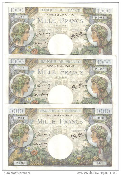 FRANCE 1000 FRANCS 29 JUIN 1944 3 NOTES CONSECUTIVE LOTTO 1058 - 1 000 F 1940-1944 ''Commerce Et Industrie''