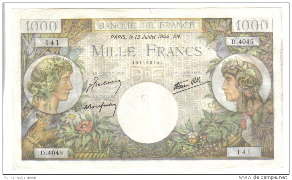 FRANCE 1000 FRANCS 13 JUILLET 1944  LOTTO 1107 - 1871-1952 Antichi Franchi Circolanti Nel XX Secolo