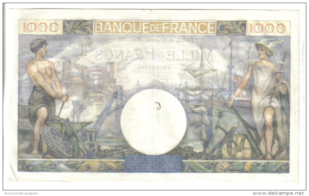FRANCE 1000 FRANCS 13 JUILLET 1944  LOTTO 1107 - 1 000 F 1940-1944 ''Commerce Et Industrie''