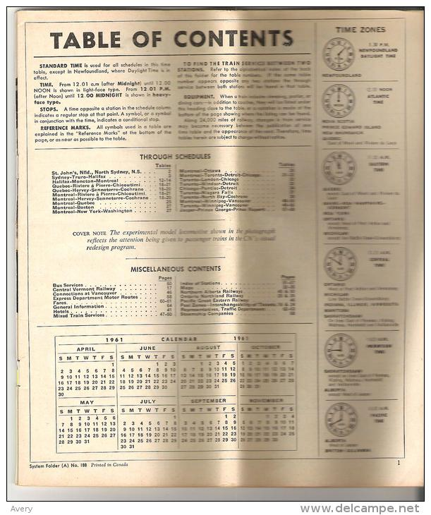 Canadian National Railways System Time Table April 30, 1961 To October 28, 1961 - Europe