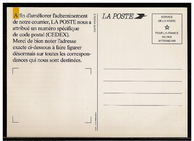 0213 - Pseudo-PAP, Carte Postale De La Poste: CODE CEDEX. Neuve. - Entiers Postaux