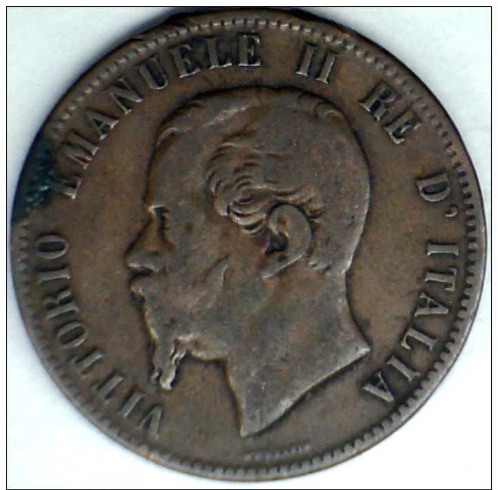 1863, ITALY, 10 CENTESIMI LARGER COPPER COIN **SEE PHOTO** - 1861-1946 : Kingdom