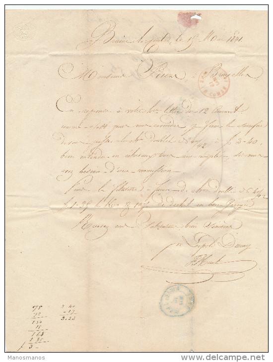 083/21 -- Lettre Précurseur BRAINE LE COMTE 1841 Vers Bruxelles - Signée Huet Pour Léopold Duray - 1830-1849 (Belgique Indépendante)