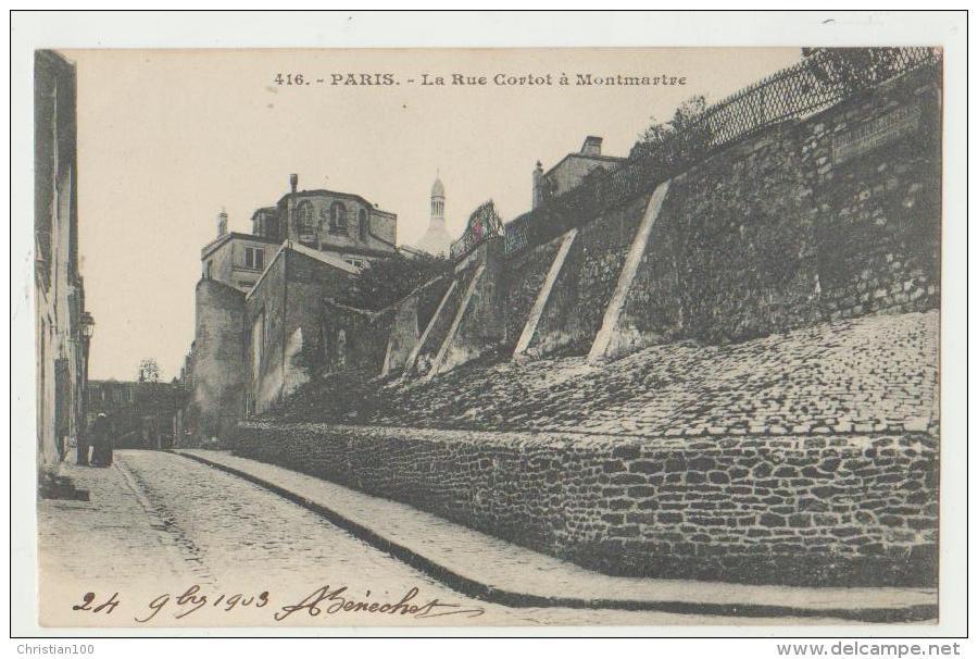 PARIS 18ème : LA RUE CORTOT A MONTMARTRE - DOS SIMPLE - ECRITE EN 1903- 2 SCANS - - Arrondissement: 18
