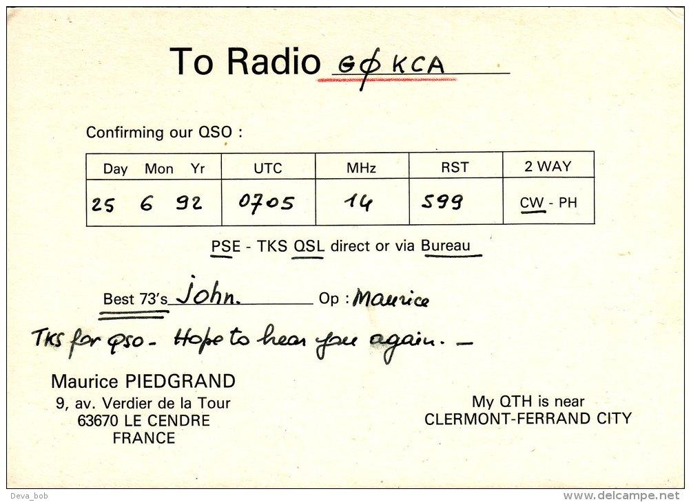 Amateur Radio QSL Card France F9KW Le Cendre Auvergne Piedgrand - Radio Amateur