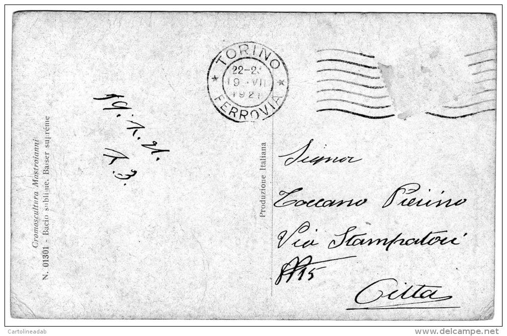 [DC8987] CROMOSCULTURA - MASTROIANNI - BACIO SUBLIME - Viaggiata 1921 - AUTENTIQUE- Old Postcard - Sculture