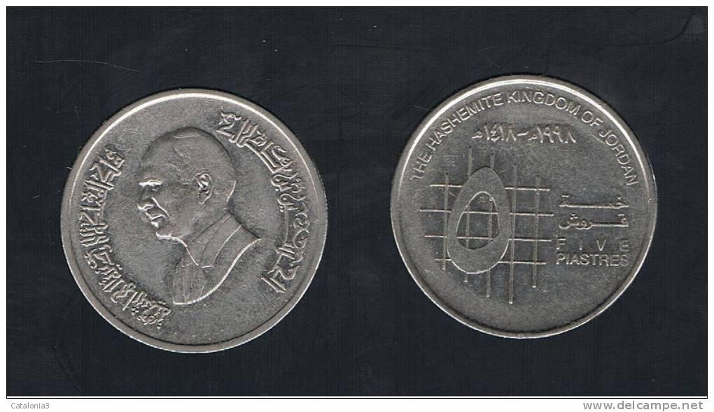 JORDANIA -  5  Piastres  1998  KM54 - Jordania