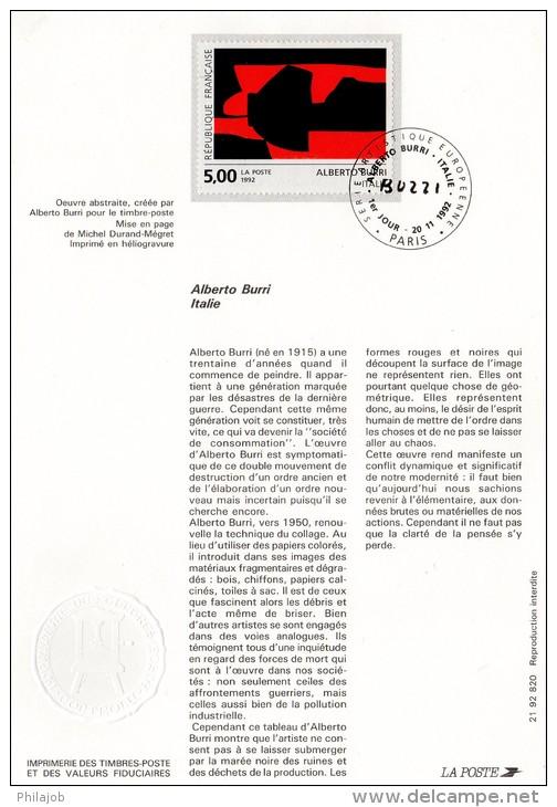 "1992 : Notice Officielle 1er Jour "" ALBERTO BURRI "". N° YT 2780 + Prix Dégressif ! - Documents Of Postal Services"