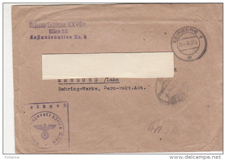 A2274 - Germania III Reich Annullo Nazista Su Busta  VG Lemberg-Marburg - Briefe U. Dokumente