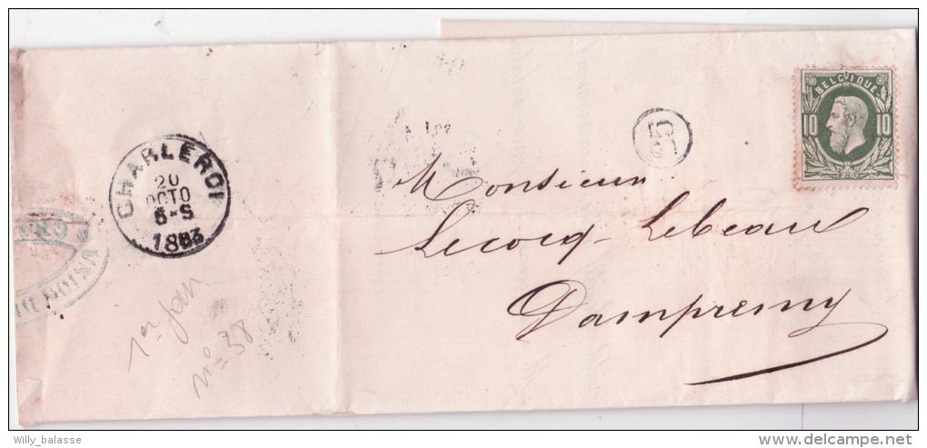 L. Affr. N°30 Resté Neuf De Charleroi 1883 Avec Arrivée + Cachet De Facteur - 1869-1883 Léopold II