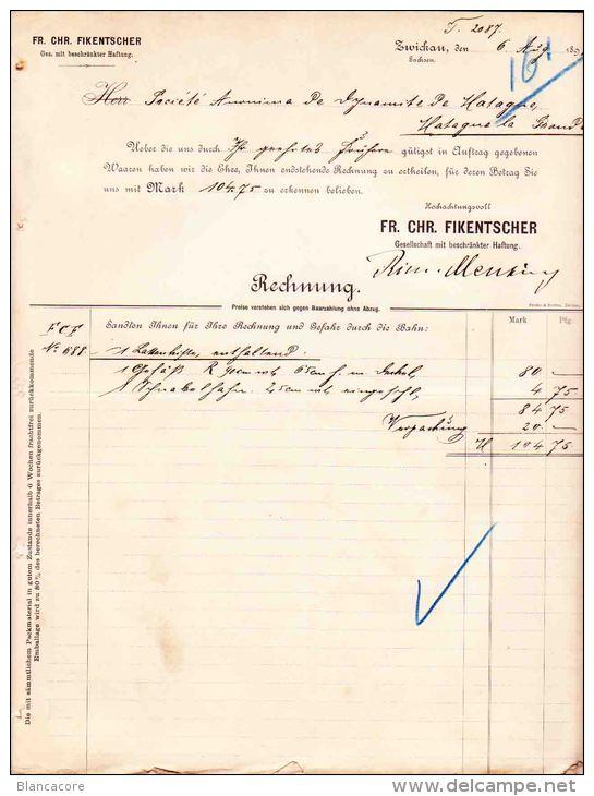 ZWICKAU SAXE  SACHSEN  FIKENTSCHER 1898 - Allemagne