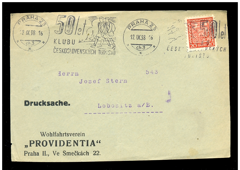 CZECHOSLOVAKIA * COVER FRONT 1938 * VERY NICE CANCELLATION - Tsjechoslowakije