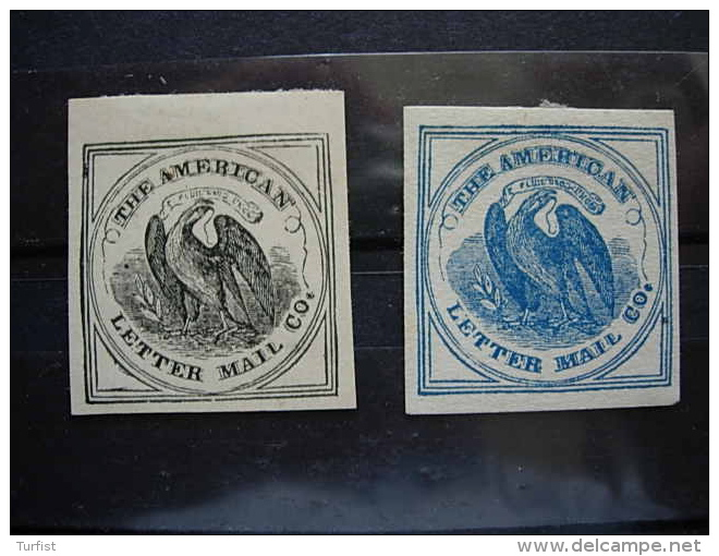 USA  2 STAMPS OF THE AMERICAN LETTER MAIL CO. - Lokalausgaben
