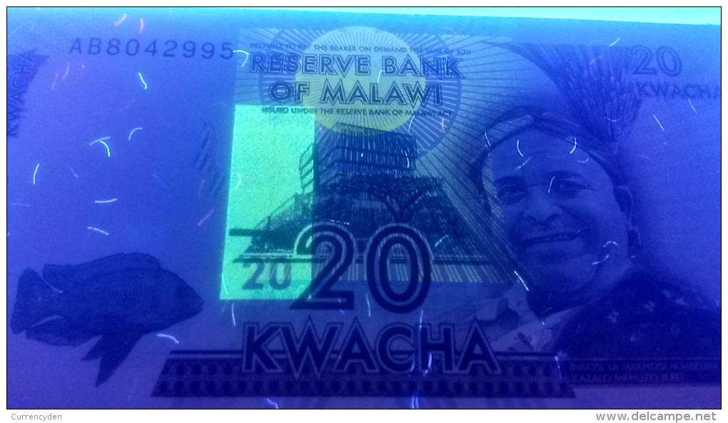 Malawi P57, 20 Kwacha, 2012, Fish / College, Books, Mortarboard - ERROR On Note - Malawi