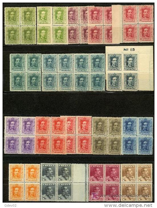 ES310-L2173.España Spain Espagne ALFONSO Xlll TIPO VAQUER. 1922/30 (Ed.310/23** Bl4)  MUY BONITA - 1889-1931 Reino: Alfonso XIII