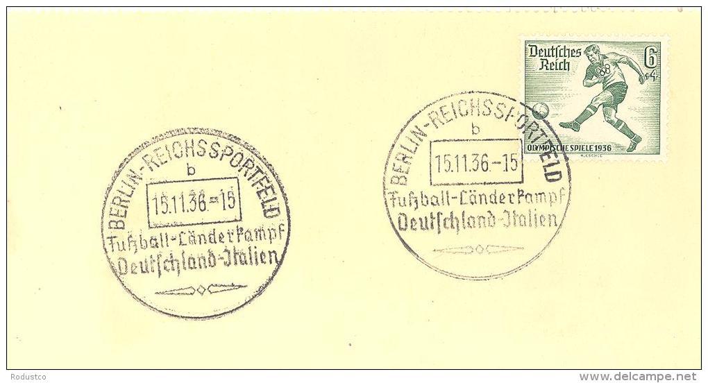 """Michel # 611 Auf Briefstück Mit SST  """"BERLIN - REICHSSPORTFELD Fussball - Länderkampf Deutschland - Italien""""15.11.36 - Allemagne"""