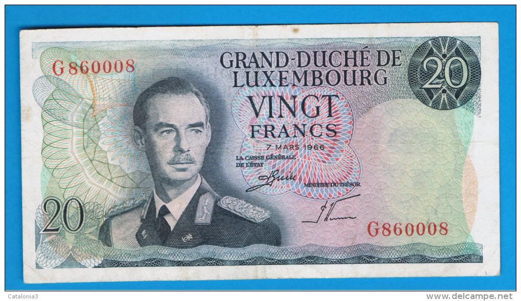 LUXEMBURGO -  20 Francs 1966  P-54  Serie G - Luxemburgo