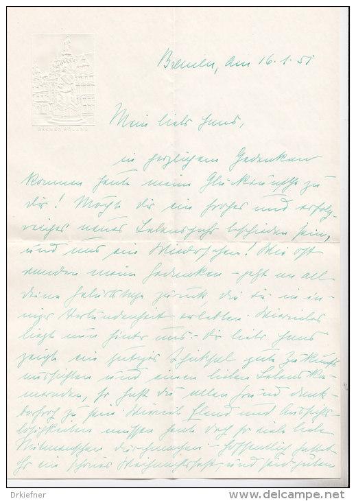 Brief Aus Bremen 1951, Prägedruck Im Briefkopf: Roland, Bremen - Manuskripte
