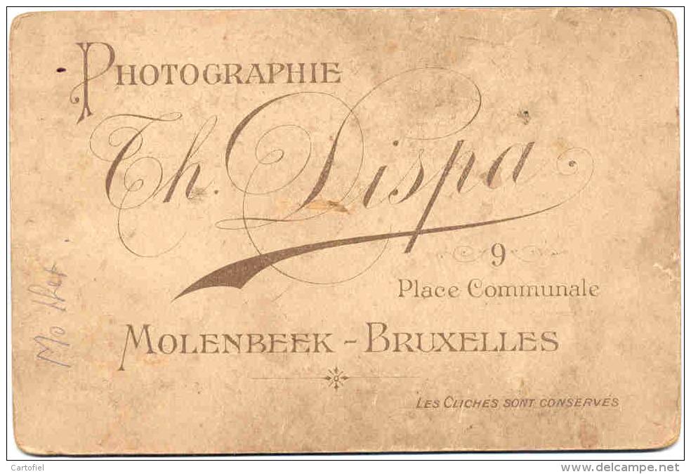 MOLEMBEEK-KABINET-PHOTO SUR CARTON-DEBUT 1900-ANGE-COMMUNION-PHOTOGRAPHIE-DISPA-PLACE COMMUNNALE-VOYEZ 2 SCANS! ! ! - Molenbeek-St-Jean - St-Jans-Molenbeek