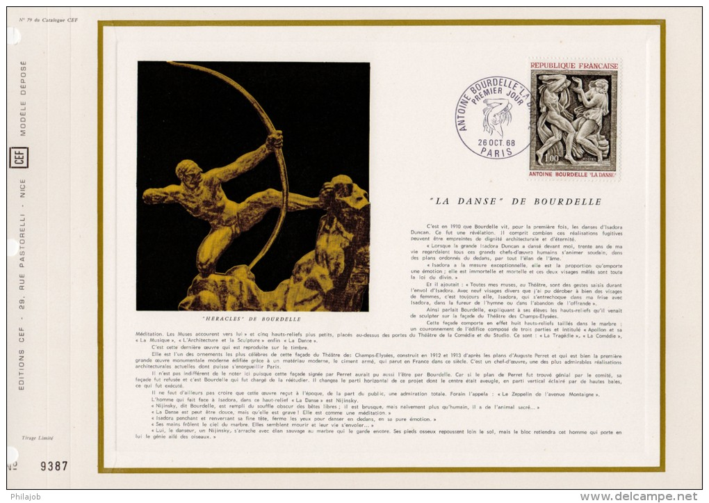 """"""" Opération TABLEAUX """" Feuillet CEF 1er Jour De 1968 N° 79 """" LA DANSE De BOURDELLE """" N° YT 1569 + Prix Dég. - Postdokumente"""