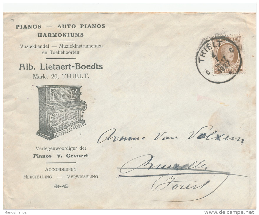 260/21 -- Lettre TP Houyoux THIELT 1927 Vers FOREST - Entete Et Superbe Illustration Pianos Lietaert-Boedts - 1922-1927 Houyoux