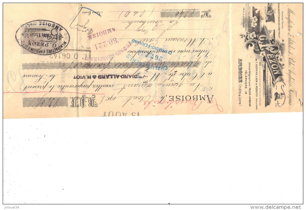 Lettre Change 1908 G PEZON Articles De Pêche AMBOISE Indre Et Loire Pour La Bourboule Puy De Dôme  - Timbre  Fiscal - Lettres De Change