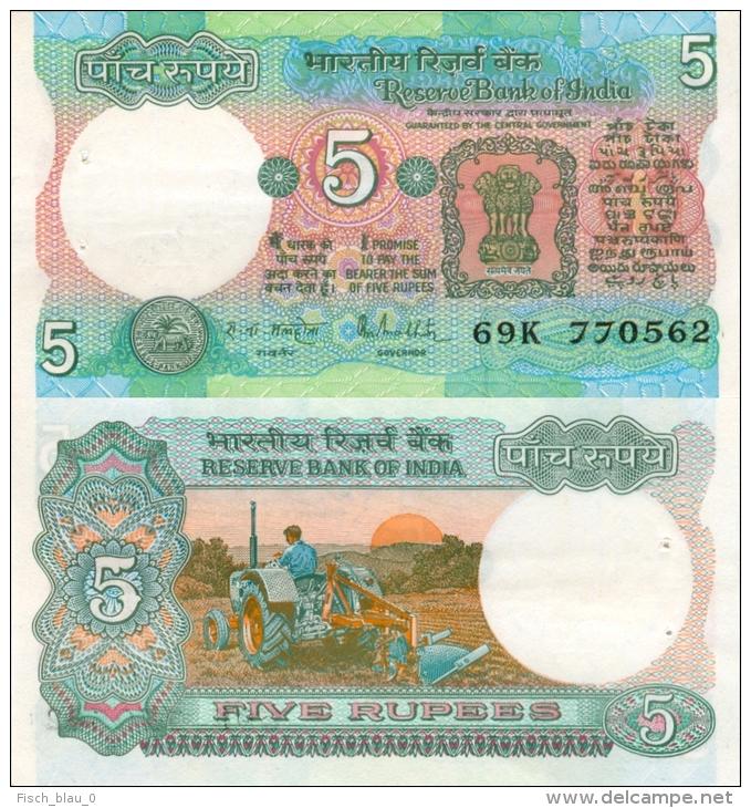 Banknote 5 Indische Rupien Indien India Rupees IR Re Rs Rupie Rupee Geldschein Indian Note Geld - Indien