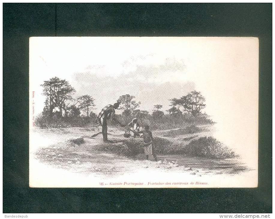 Guinée Portugaise - Fontaine Des Environs De Bissau     ( Animée Dos Simple Rodez E. Carrere Imp.-édit.) - Guinea-Bissau