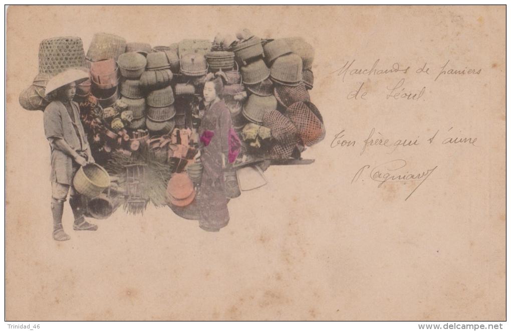 SEOUL COREE DU SUD ( MARCHAND DE PANIER ) VIEUX METIERS  SUPERBE VERS 1900 - Corée Du Sud