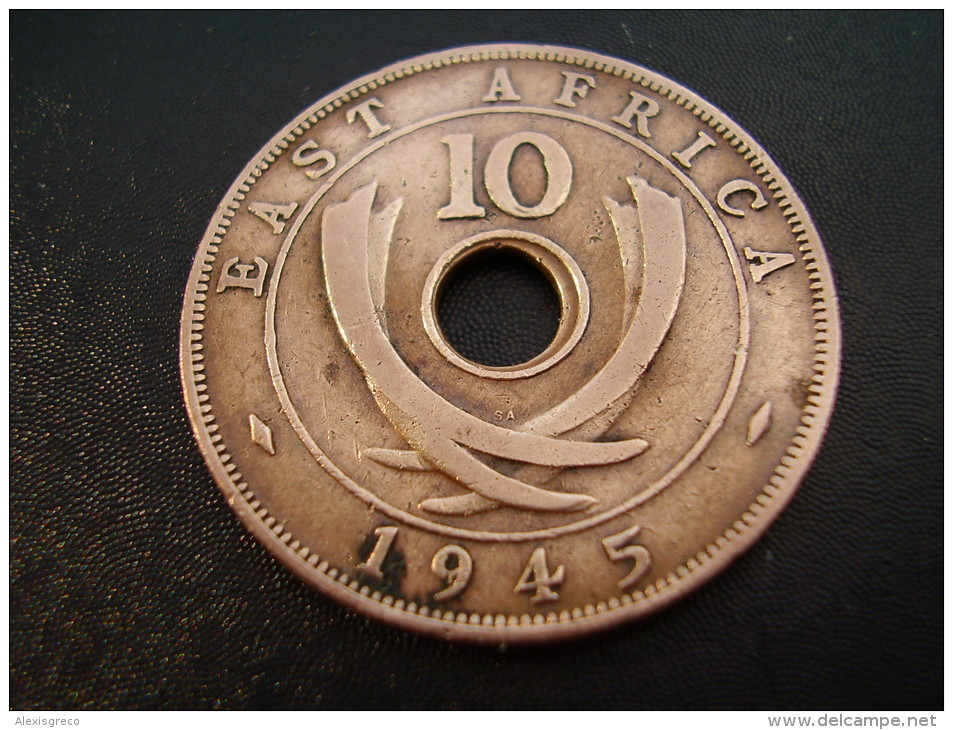 BRITISH EAST AFRICA USED TEN CENT COIN BRONZE Of 1945 SA - George VI. - British Colony