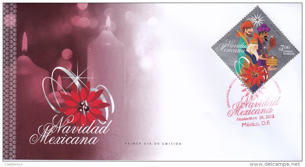 G)2013 MEXICO, CANDLES-THREE KINGS-GIFTS-BELEN STAR-NOCHE BUENA FLOWER, MEXICAN CHRISTMAS, FDC, XF - Mexico