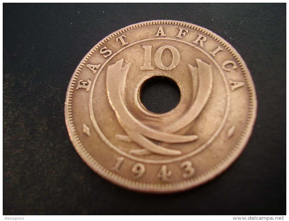 BRITISH EAST AFRICA USED TEN CENT COIN BRONZE Of 1943 SA - George VI. - British Colony
