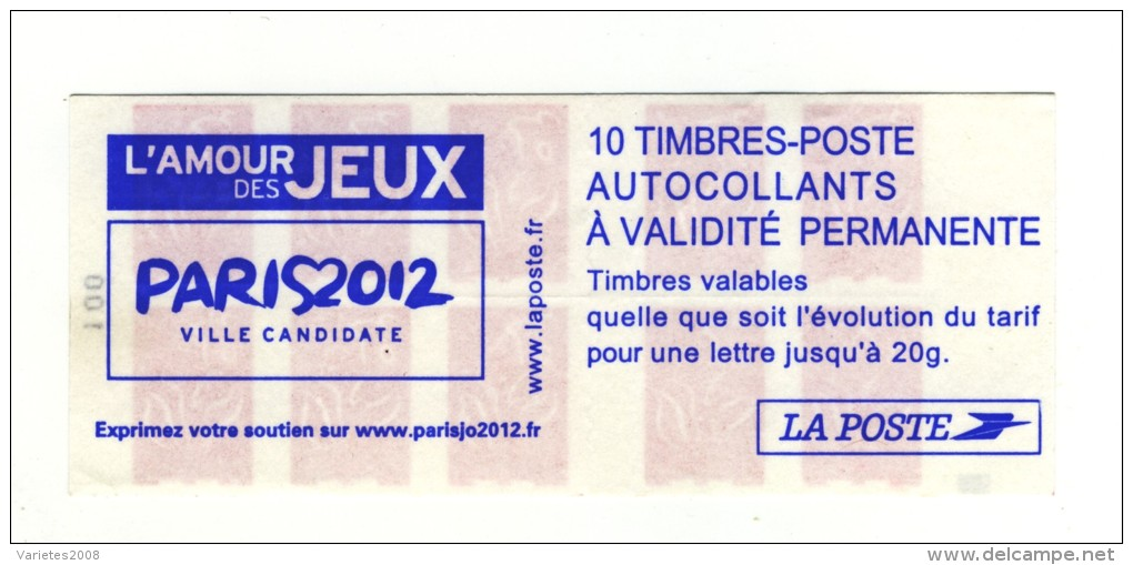 Carnet Lamouche Paris 2012 YT 3744-C1a Avec Gros Carré Noir à Gauche . Cote Maury N° 548a : 40 € . Superbe, Voir Le Scan - Carnets