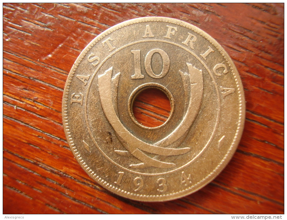 BRITISH EAST AFRICA USED TEN CENT COIN BRONZE Of 1934  - GEORGE V. - British Colony