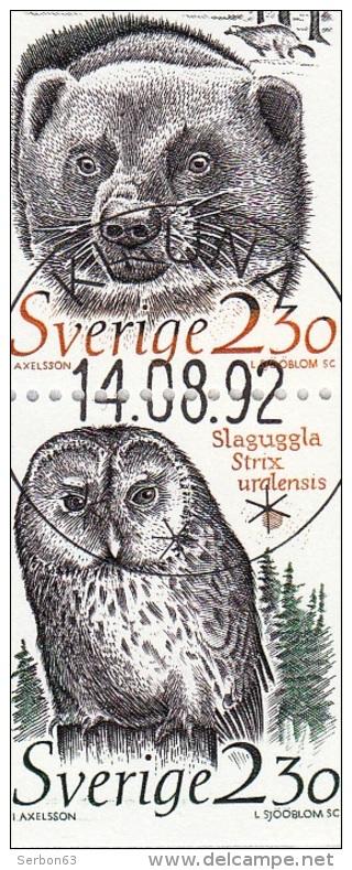 2 TIMBRES SOUS ENVELOPPE TRANPARENTE SVERIGE OBLITERE JÂRV GULO GULO SLAGUGGLA STRIX URALENSIS AXELSSON L. SJÖÖBLOM SC - Suède