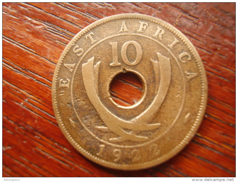 BRITISH EAST AFRICA USED TEN CENT COIN BRONZE Of 1922  - GEORGE V. - British Colony