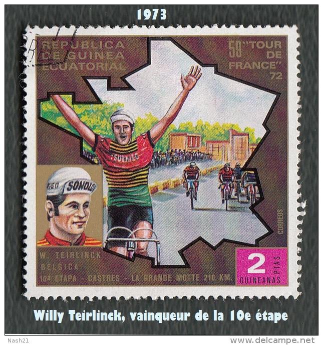 1973 - Afrique - Guinée équatoriale - Tour De France 72 - 2 Ptas.  Willy Teirlinck - - Cycling